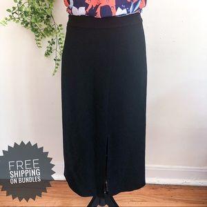 Tibi Double Slit Pointe Knit Black Midi Skirt 8
